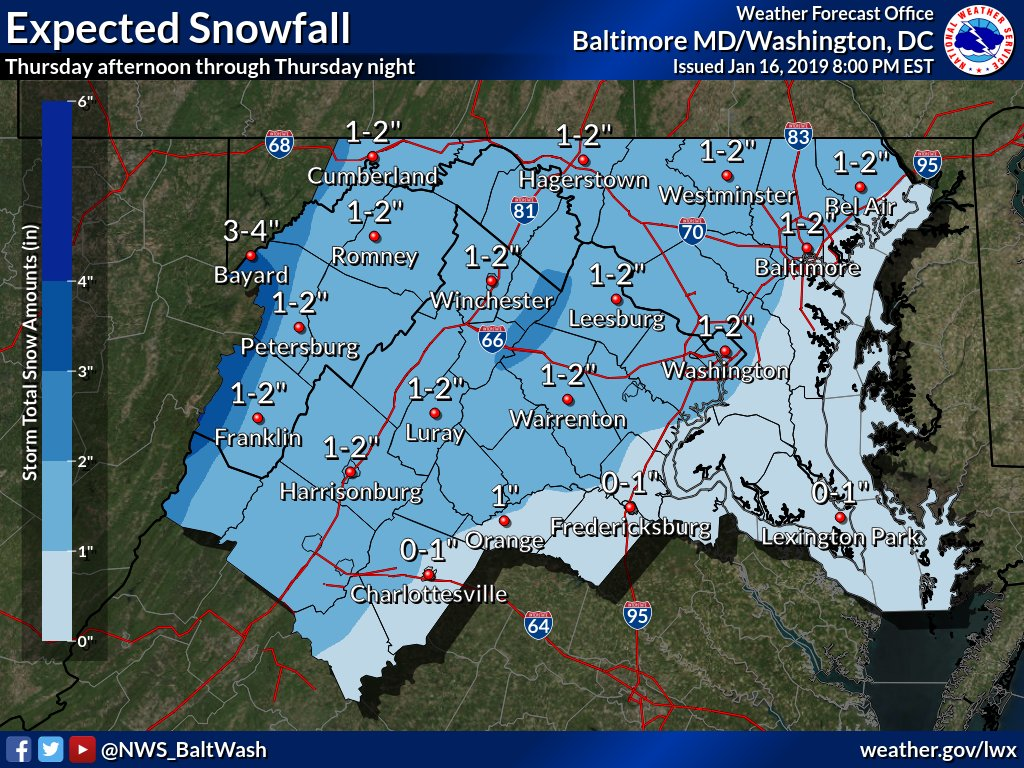 The National Weather Service has issued a Winter Weather Advisory for the Alexandria, Virginia area from 6:00 PM Thursday evening thru Friday morning.