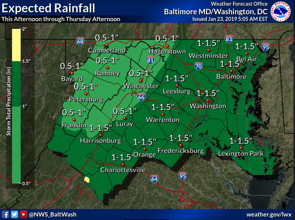 The National Weather Service (NWS) has issued a Flood Watch for Alexandria, Virginia and the D.C. Metro area Thursday, January 24, 2019 from 4:00 a.m. to 3:00 p.m.