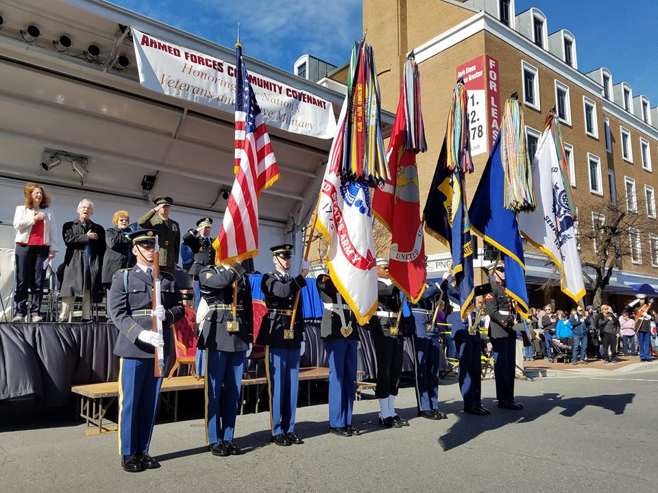 Prior to the George Washington Birthday Parade in Old Town Alexandria, Virginia, come honor our nation's veterans and active military, and sign the community covenant document showing your support for our armed forces and their families at the Parade Reviewing Stand adjacent to Market Square. (Photo: RBTMedia, LLC)