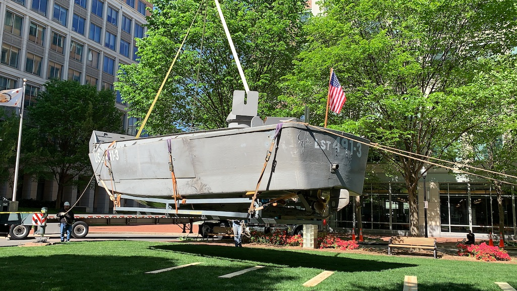 The National Inventors Hall of Fame (NIHF) Museum landed a restored Higgins Boat today in Dulany Gardens at the USPTO in Alexandria, Virginia.