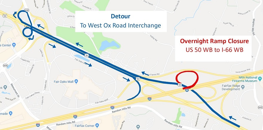 The ramp from westbound Route 50 to I-66 West in Fairfax County is scheduled to close temporarily on Tuesday night, April 30, from midnight to 4 a.m.