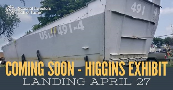 """To mark the 75th anniversary of D-Day on June 6, 2019, the National Inventors Hall of Fame (NIHF) Museum in will be """"landing""""a restored Higgins Boat."""
