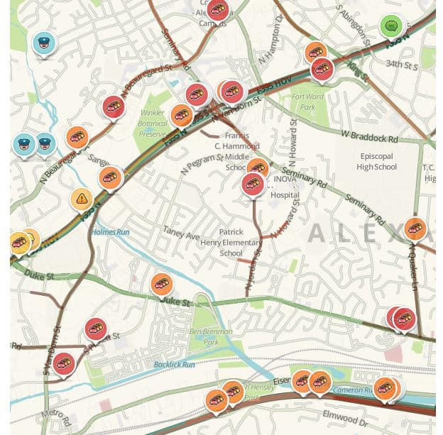 You can find out how traffic is doing in Alexandria, Virginia in real-time anytime by using our LIVE interactive traffic map powered by WAZE.