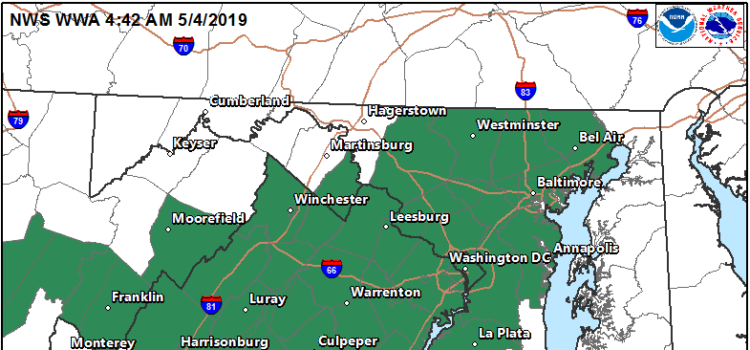 The National Weather Service (NWS) has issued a Flash Flood Watch for the D.C. Metro area including Alexandria, Virginia TONIGHT (Saturday, May 4, 2019) from 8:00 p.m. through 10:00 a.m. Sunday.