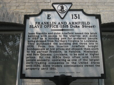 Experience a powerful exhibit in the basement of the Freedom House Museum building in Alexandria, Virginia, which was once part of a larger complex used by the slave-trading firm Franklin and Armfield.