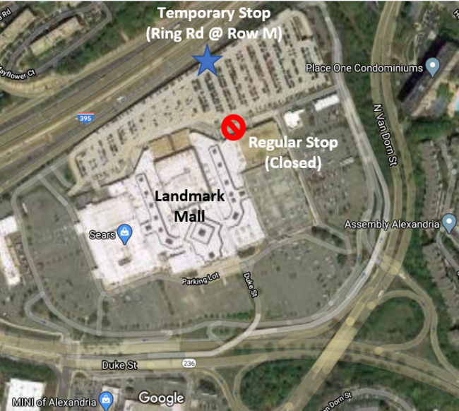 Due to the FREE community COVID-19 testing event at Landmark Mall from 10:00 AM – 6:00 PM, the Landmark Mall Transit Center in Alexandria, Virginia will be temporarily relocated to Ring Road, located at the back of the Landmark Mall parking garage.