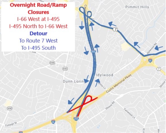 All lanes of I-66 West approaching Route 7 (Leesburg Pike) will close nightly October 12-14 for continued bridge beam installation at theI-66/I-495 Interchange. Traffic will be detoured using Route 7 and I-495.