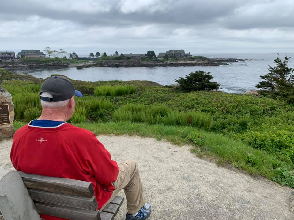Dad looking at the Bush Compound in Kennebunkport