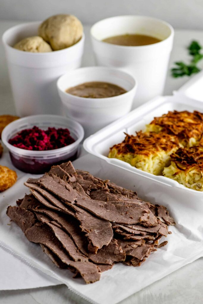 Passover Takeout of Brisket, Matzo Ball Soup, Gravy and Red Beet Horseradish