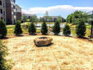 fire pit in apartment complex garden