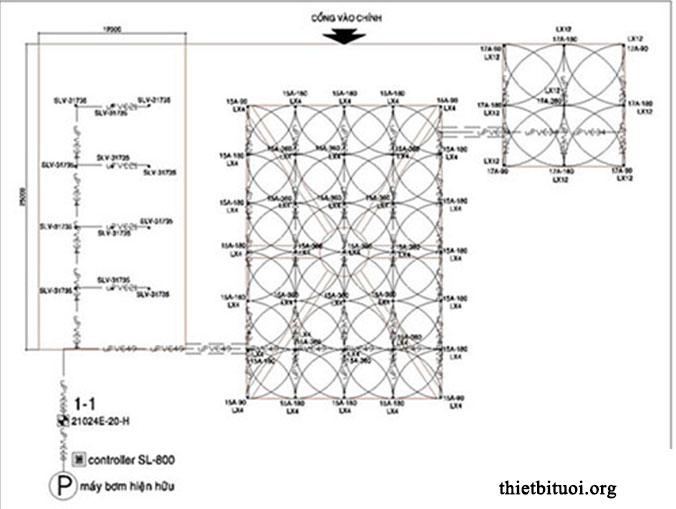 Bản vẽ hệ thống tưới nước thiết kế trên phần mềm AutoCad
