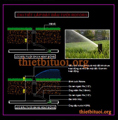 Bản vẽ chi tiết hệ thống tưới vòi tưới Rotor