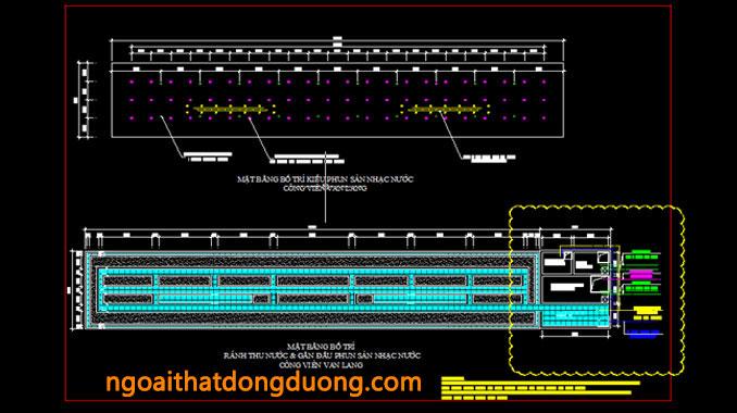 Mặt bằng bố trí rãnh thu nước sàn nhạc nước Văn Lang - bản vẽ thiết kế sàn nhạc nước công viên Văn Lang