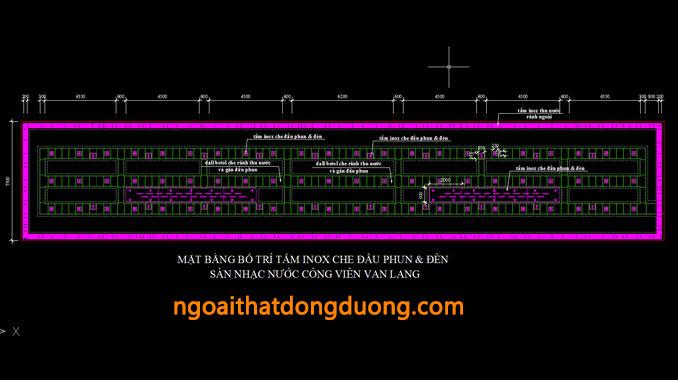 Bố trí tấm inox cho các vòi phun sàn nhạc nước - bản vẽ thiết kế sàn nhạc nước Văn lang
