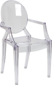 Clear Ghost Chair With Arms Rentals