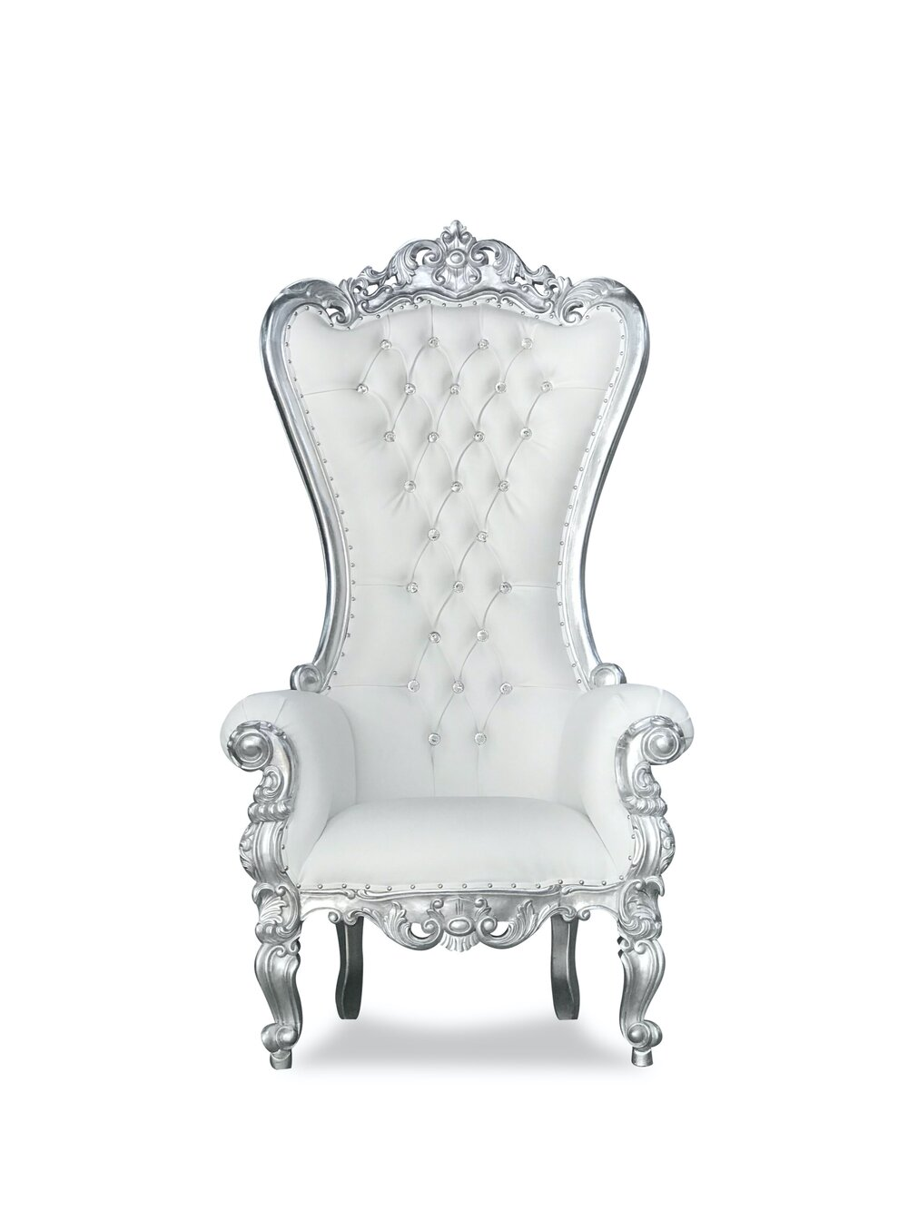 White and Silver Throne Chair