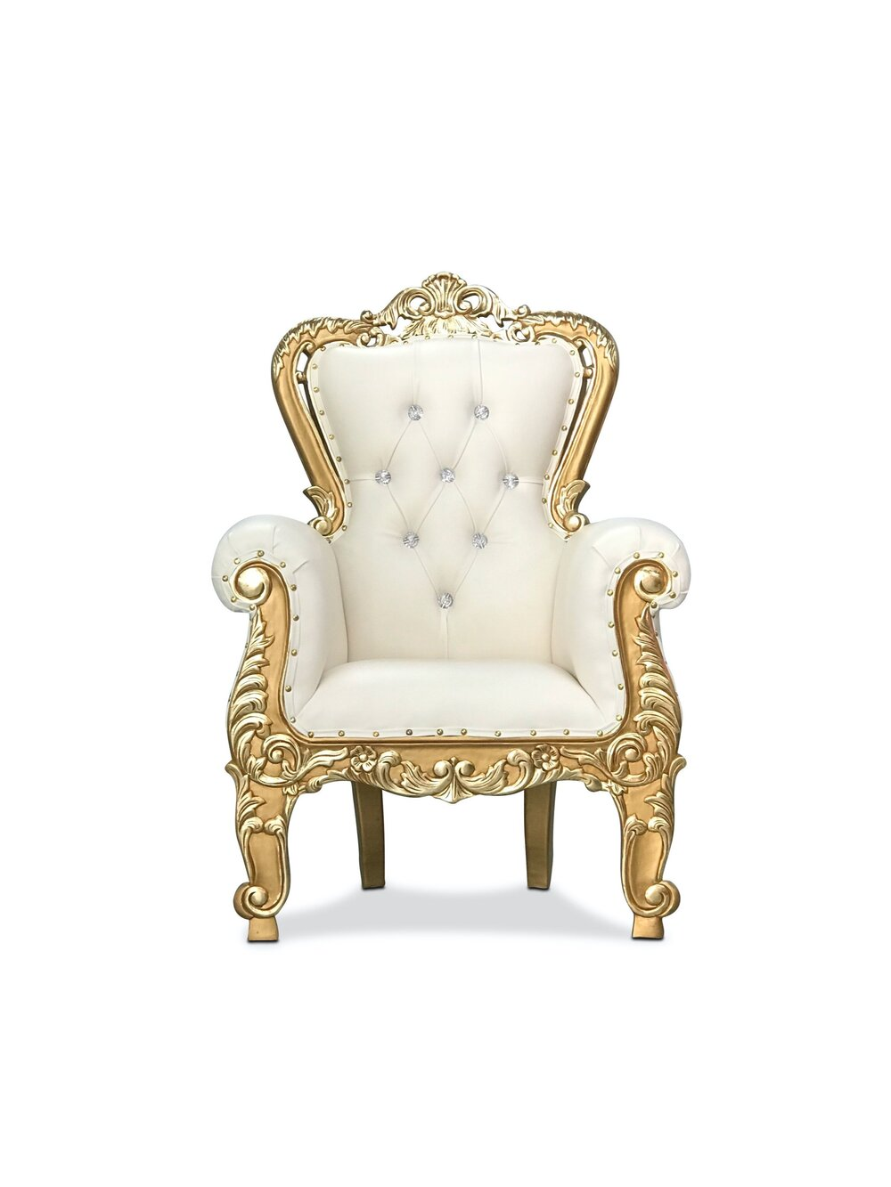 Kids Ivory and Gold Throne Chair