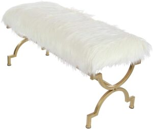 Contemporary Gold & White Faux Fur Cushion Bench with Quatrefoil Metal Frame