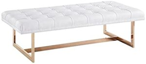 Leather Upholstered Button Tufted Living Room Bench
