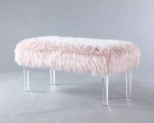 Modern Contemporary Faux Fur Acrylic Leg Bench, Pink