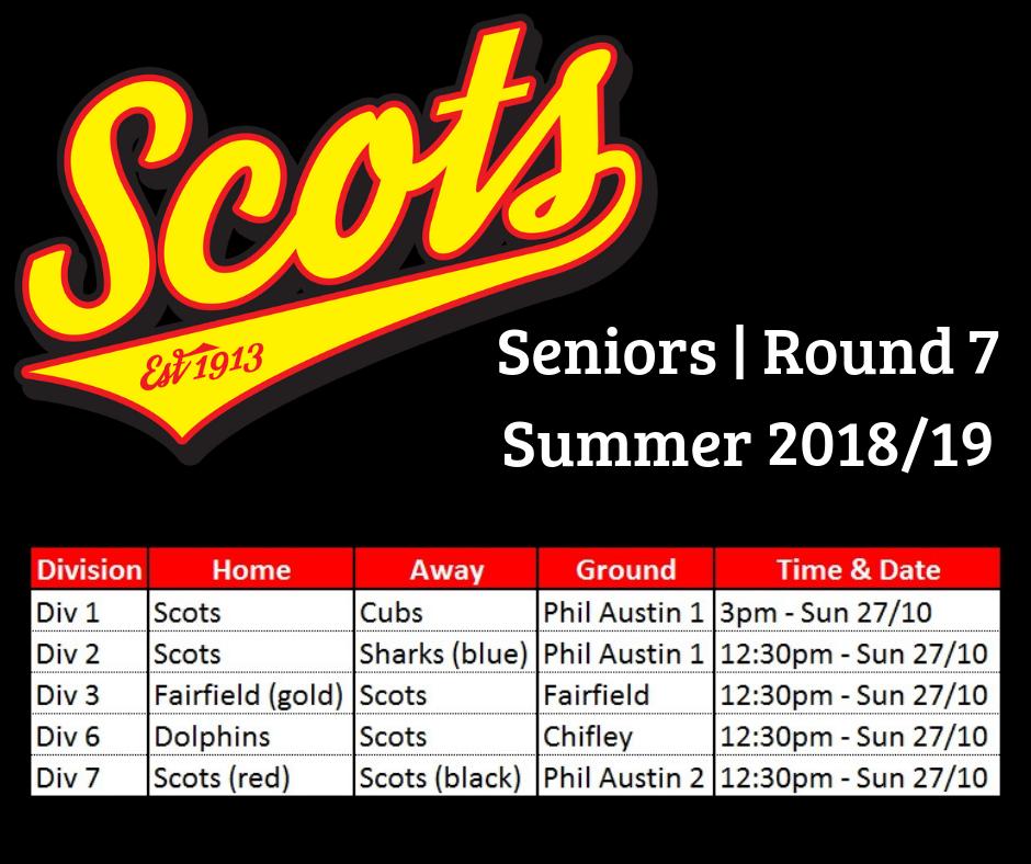 Seniors – Round 7 draw