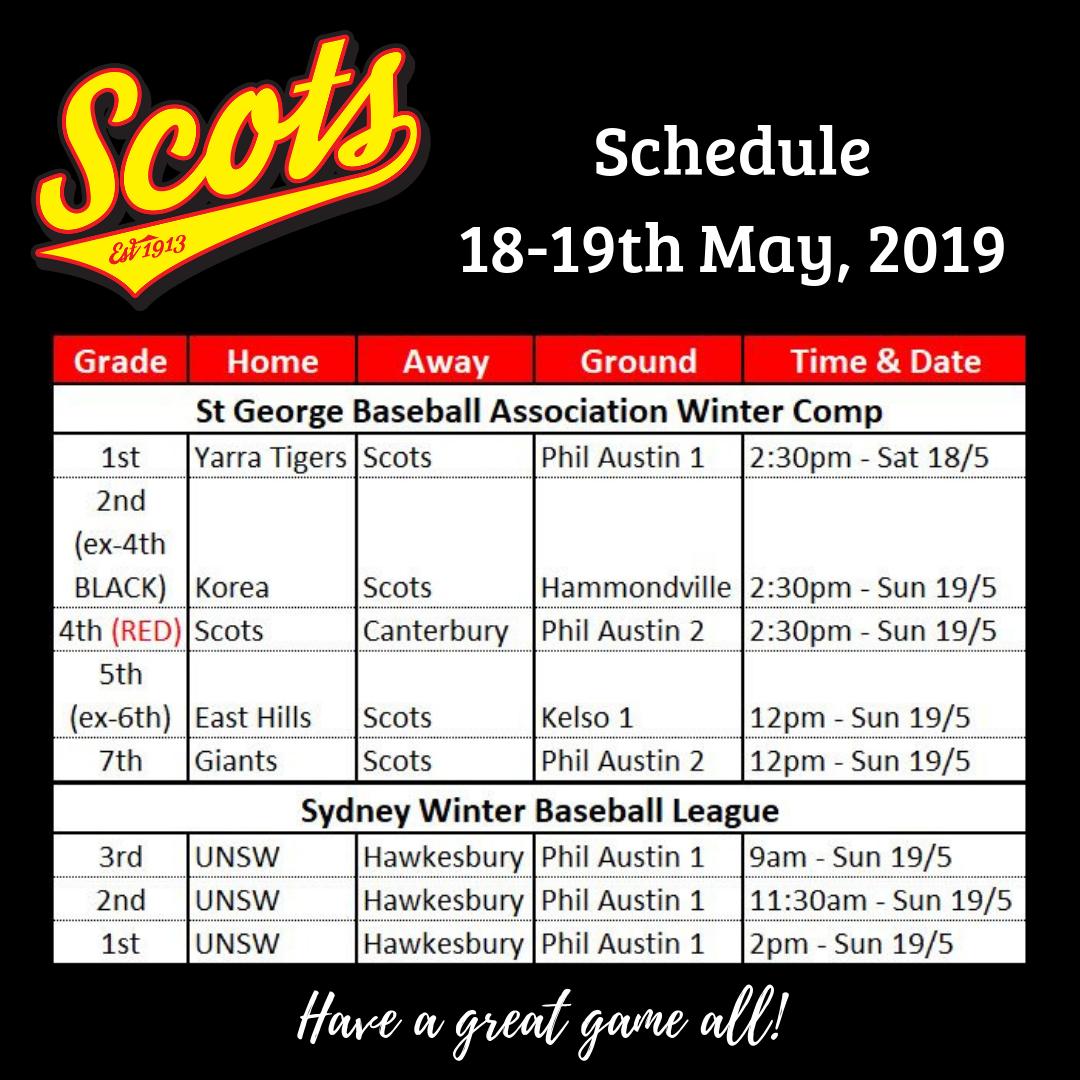Draw: May 18-19 2019