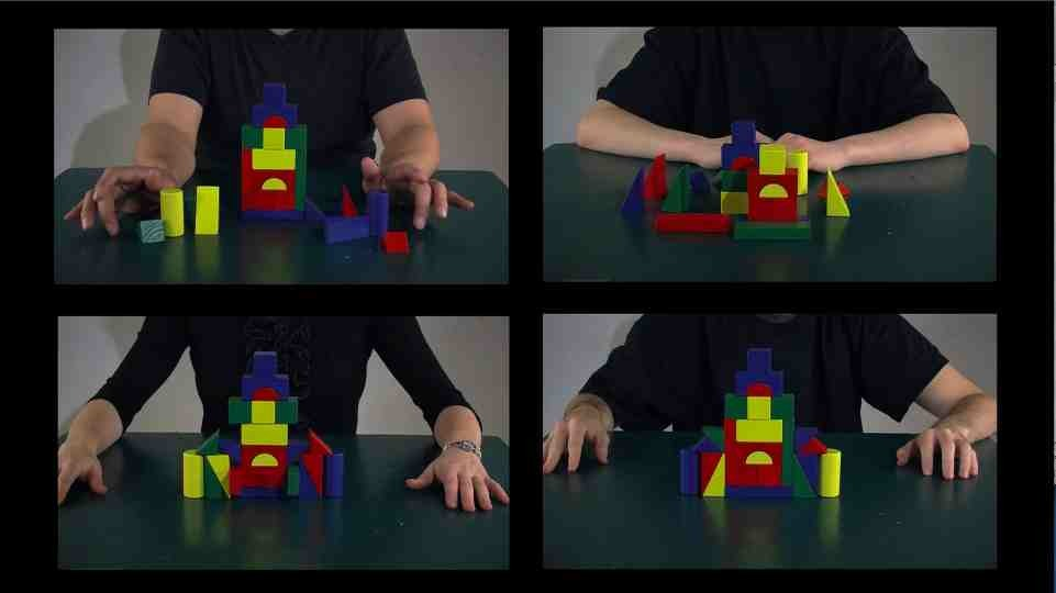 grid of four pictures of different people building with multicolored blocks