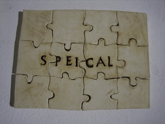 ceramic puzzle complete with the word SPEICAL