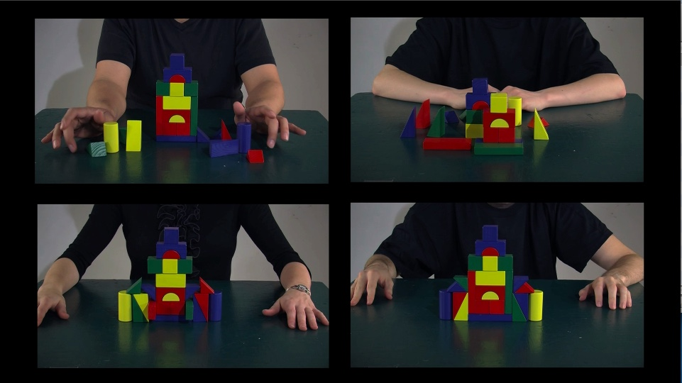 Grid of 4 photographs on a black background each has a person chest and arms, with building blocks in front of them in different patterns.
