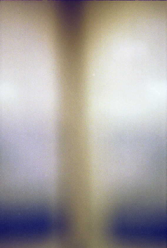 Two Vertical White columns that fade into deep blue