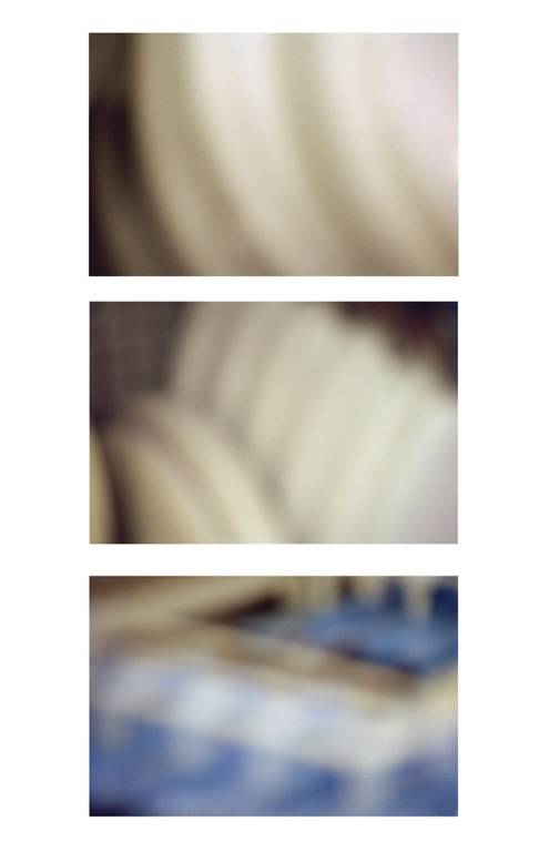 3 panels horizontal of blue and white lines