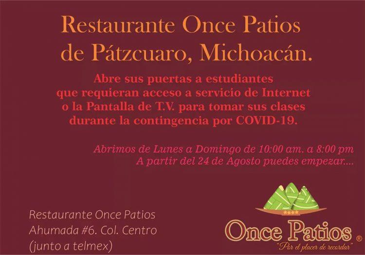 Restaurante de Pátzcuaro ofrece instalaciones para clases a distancia