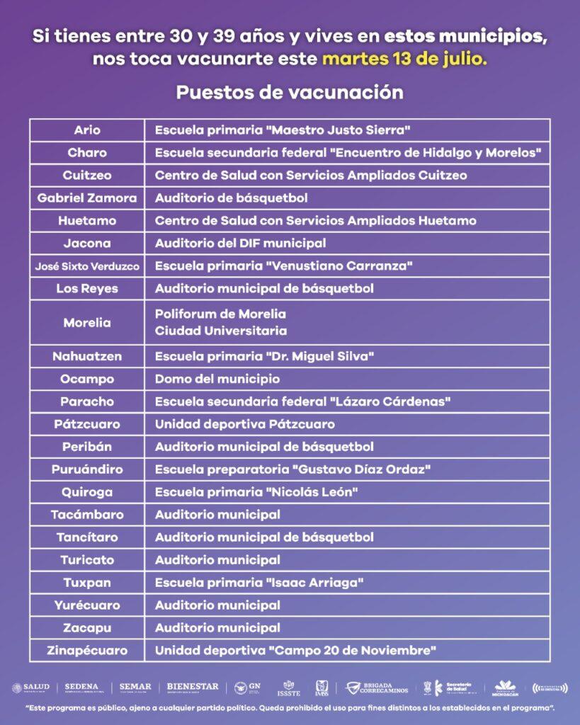Vacuna para personas de 30 a 39 en 23 municipios de Michoacán - Pátzcuaro Noticias