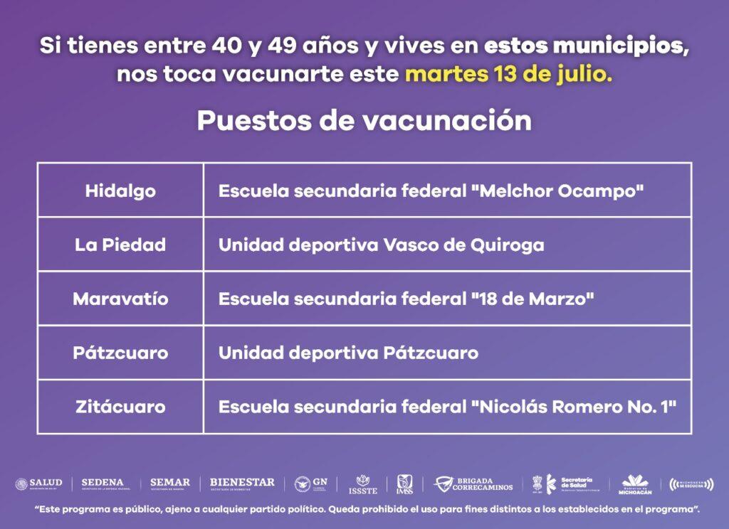 Vacuna para personas de 30 a 39 en 23 municipios de Michoacán