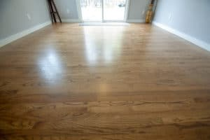 Close up of new hardwood floor in the master bedroom addition