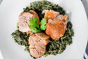 Pork with Creamed Spinach