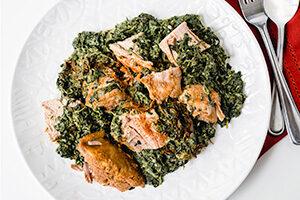 Roast Pork with Creamed Spinach