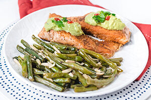 Salmon with Green Beans Almondine