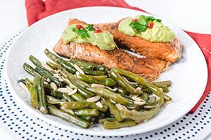 Salmon with Green Beans Almondine