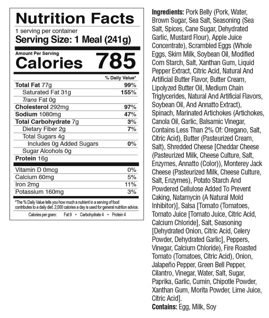 Breakfast Scramble Nutrition Facts