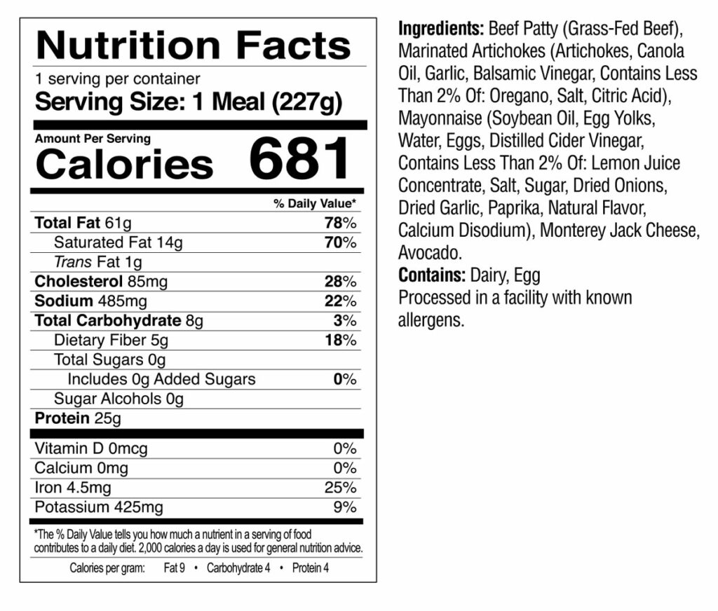 Bunless Cheeseburger Nutrition Facts