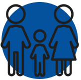 An image icon of a family of stick figure people that represents child custody and support