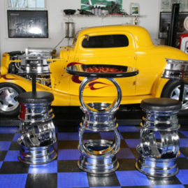 Hot Rod Barstools in Decorated Garage