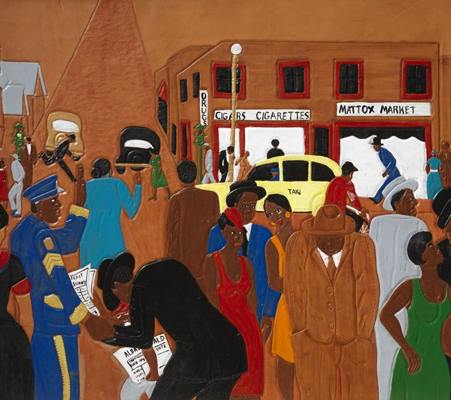 city scene with only African Americans going about their day