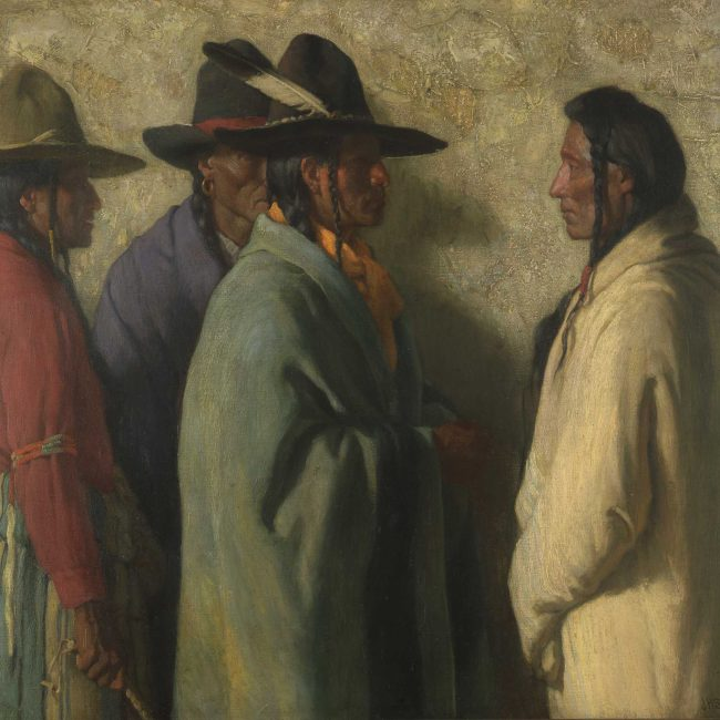four american Indians speaking