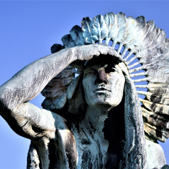 portrait of american Indian sculpture