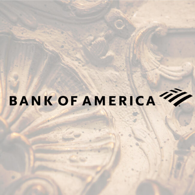 bank of america logo with art frame behind it