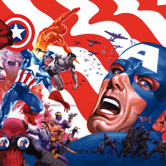 collage of captain america and other comic book characters