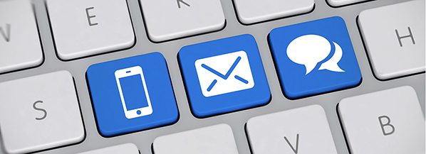 Phone email chat icons on keyboard