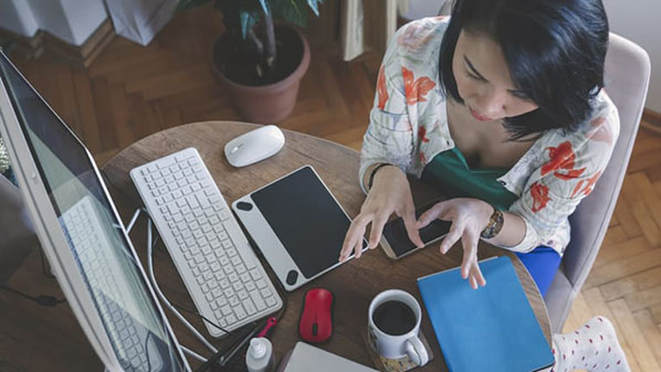 Woman working remotely on meeting